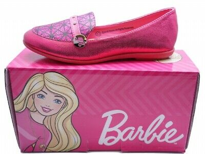 Girls Pink Slip-On Barbie Loafers Party Pumps