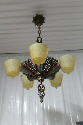 Antique Art Deco Slip Shade Ceiling Light Fixture Chandelier 5 Shades Lincoln