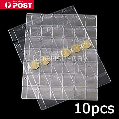10X 42 Pockets Coin Holders Folder Pages Collection Album Storage Book Sleeve OZ