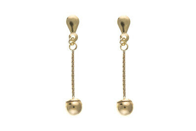 Solid Gold Drop Earrings Ball and Twist Stick Drops 375 9 Carat Hallmarked