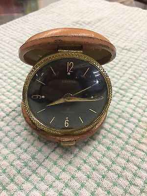Vintage German Estyma 11 jewel round Wind up travel clock in case NOT WORKING