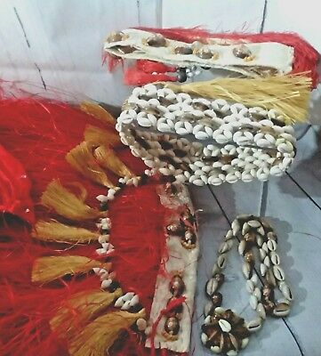 Vtg Tahitian  Authentic c1960s Grass Skirt, Head Pc, Bra, Shell Access Flawed