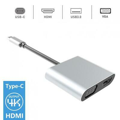 4 in 1 TypeC to HDMI 4K 30Hz VGA 1080P USB 3.0 Audio Adapter+PD 87W Fast Charger