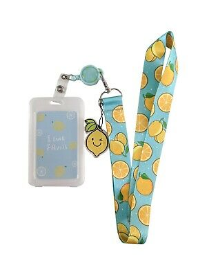 Lemons Lanyard Retractable School Badge ID Pass Holder License Cute Fruit Charm