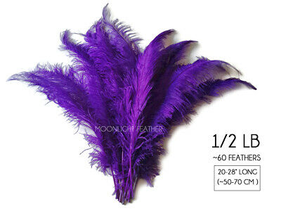 """60 Feathers - 20-28"""" Purple Ostrich Spads Wholesale Feathers Carnival Costume"""