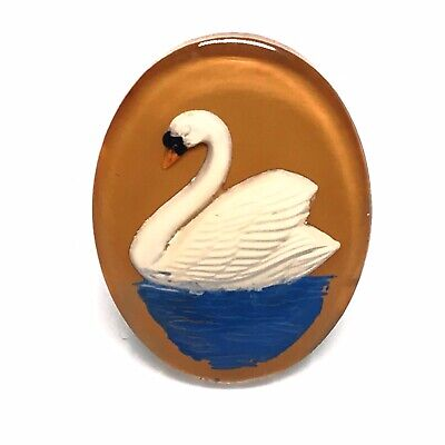 Vintage Reverse Carved Lucite Ring. Swan. 1940s Art Deco. In Gift Box.