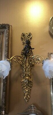 Antique Bronze Wall Hanging Scounce With Cherub Putti 2 Arm Light