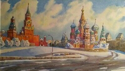 Fine Art Original Russian Watercolor Painting St.Basil's Cathedral in Winter