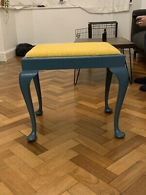 Upcycled Antique Victorian Piano Stool Teal And Yellow