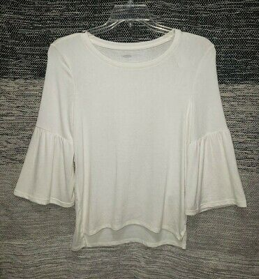 Old Navy Girls Size XL 14 Creme Long Bell Sleeve Hi-Low Sweater Top New