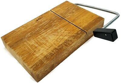 Vintage Cheese Board Slicer Cutter Wire  End Grain Mini Butcher Block Wood