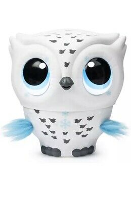 Owleez 6046156 Flying Baby Owl Interactive Toy with Lights & Sounds (White), NEW