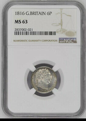 1816 Great Britain 6 Pence NGC MS63 High Grade Coin Make Offer