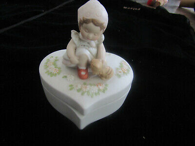 Vintage Holly Hobbie Heart Shaped Trinket Box Young Girl with Cat