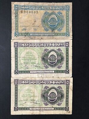 Lebanon 5 Piastres dated 1942 & 1948 3 x Banknotes aFine