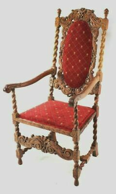 Antique Gothic Revival Side Throne Chair [5789]