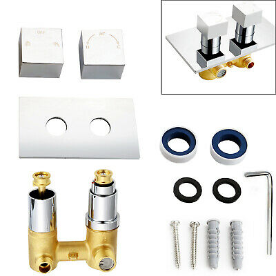 1 / 2 Way Chrome Concealed Thermostatic Shower Mixer Valve Solid Brass WRAS