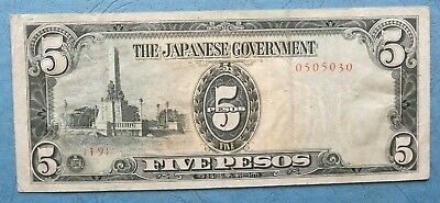 1942 Japanese Government Five Pesos Paper Note For Philippines Occupation Vf+