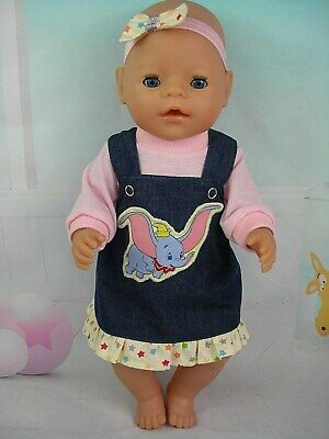 """Dolls clothes for 17"""" Baby Born~Cabbage Patch Doll~DUMBO ELEPHANT DENIM PINAFORE"""