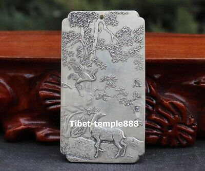 Chinese White Bronze silver plating sika deer red-crowned crane Amulet Pendant