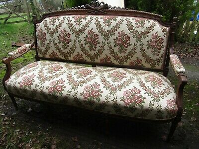 Super Antique French Large Upholstered Couch Settee Carved Walnut