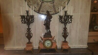 Antique French mantle Clock Beautiful  8 Day Garniture Set