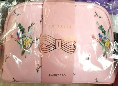 Ted Baker Large Pink Floral Empty Make Up Beauty Bag Genuine