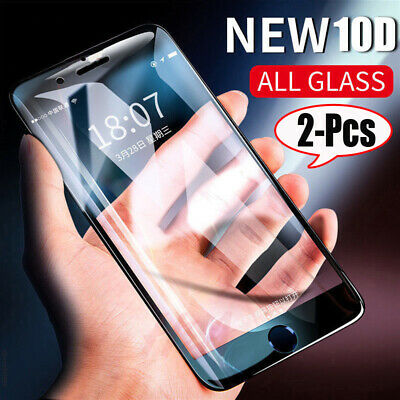 [2-Pcs] 10D Tempered Glass Screen Protector For iPhone 11 Pro Max XR XS 8 7 Plus