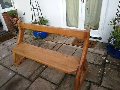 Pair of solid antique Victorian pine church benches - original & unusual