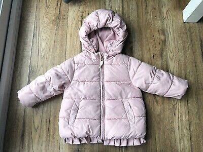 NEXT girls Pink padded winter jacket coat with hood age 12-18 months