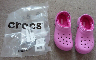 Pink Girls Lined Crocs - Size 13 but More Size 12 - Brand New