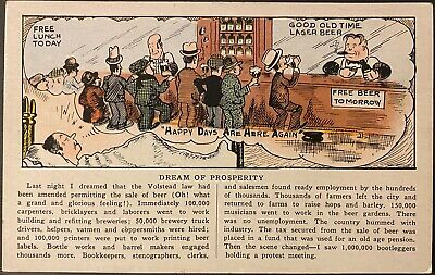 Prohibition Postcard~Man Dreams of Prosperity & Free Beer For All ~ Volstead Act