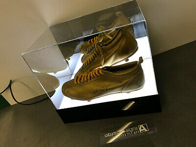 Double lILLUMINATED FOOTBALL BOOT Display CASE  Personalised UK Manufacturer