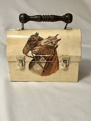 Horse Small Metal Painted Lunchbox Handmade Decoupaged Craft Case Trinket Box