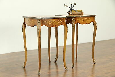 Pair of French Rosewood Marquetry Vintage Nightstands, Lamp or End Tables #32738