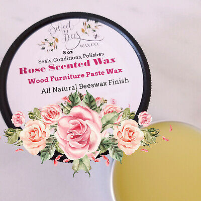 Rose Scent All Natural WAX 8 oz Chalk Paints Wax Beeswax Finish Wood Furniture