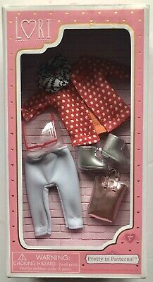 "Lori 6"" Doll Clothes Pretty In Patterns w Purse Boots Glasses Scarf /& Outfit Set"