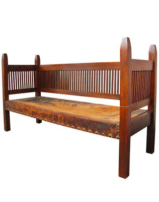 Onondaga Shop L&jG Stickley Spindled Settle w1863 (Museum Piece)