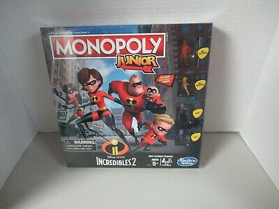 Monopoly Junior Game: Disney  Pixar Incredibles 2 Edition AGES 5+ NEW IN BOX