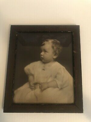 SIGNED ANTIQUE WOOD FRAMED GLASS PICTURE PHOTO-SWEET BABY-Turn Of The Century
