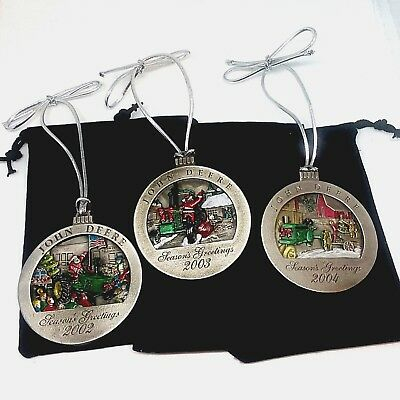 John Deere Pewter Christmas Ornaments  7th 8th and 9th , 2002, 03, 04 Lot of 3