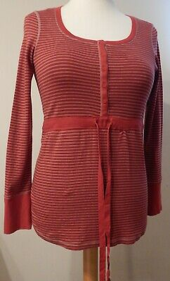 Next Maternity Red Striped Top Size 14 Long Sleeve Flattering Scoop Neck Cotton