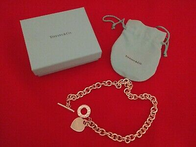 "Tiffany & Co. Sterling Silver Blank Heart Tag 16"" Choker Toggle Necklace Box Bag"