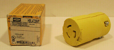 Nib Hubbell Hbl4729Vy Valise Twist-Lock Yellow Connector Body 2 Pole 3 Wire