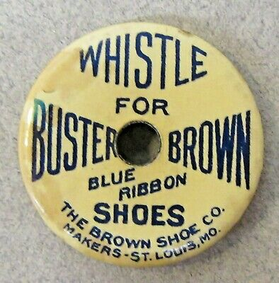 rare early WHISTLE For BUSTER BROWN BLUE RIBBON SHOES celluloid whistle WORKS ^