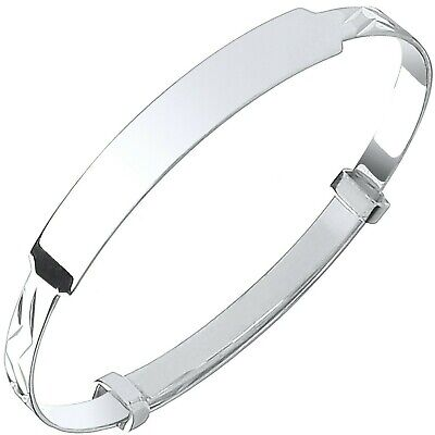 Solid Silver Baby Bangle Identity Adjustable Christening Gift