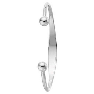 Solid Silver Baby Bangle Identity Torque Christening Gift