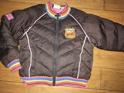 Next Girls Brown And Pink Puffa Bomber Jacket Age 2-3