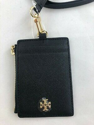 New Authentic Tory Burch 60305 Emerson Lanyard Wallet/ID Holder Leather Black