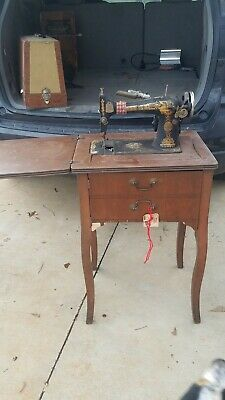 Antique Vintage Singer Treadle Sewing Machine In Cabinet With Electrical Motor
